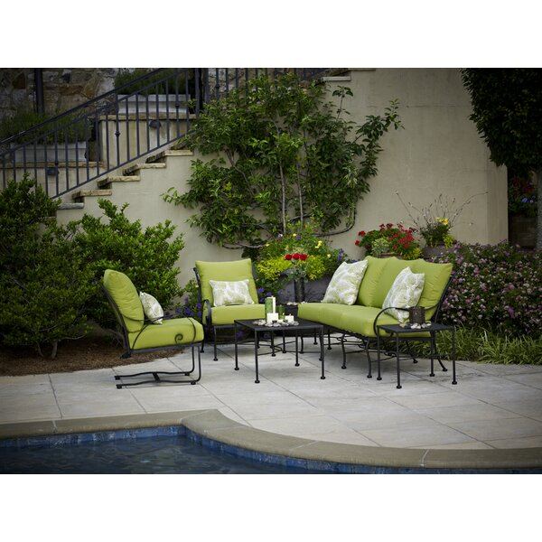 Uribe 5 Piece Deep Sunbrella Sofa Seating Group with Cushions by Fleur De Lis Living