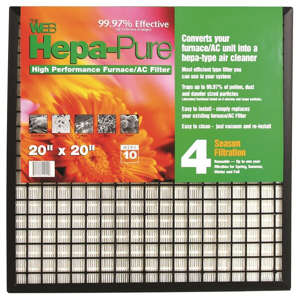 Hepa Pure High Performance Furnace / AC Air Conditioner Air Filter by WEB Products
