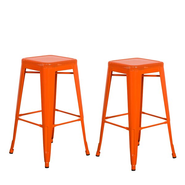 Piccolo Backless Top Mesh 24 Bar Stool (Set of 2) by Gracie Oaks