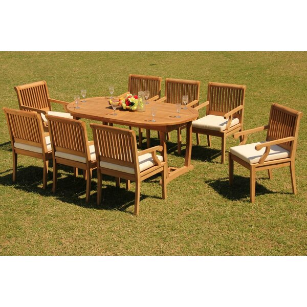 Nadell Luxurious 9 Piece Teak Dining Set by Rosecliff Heights