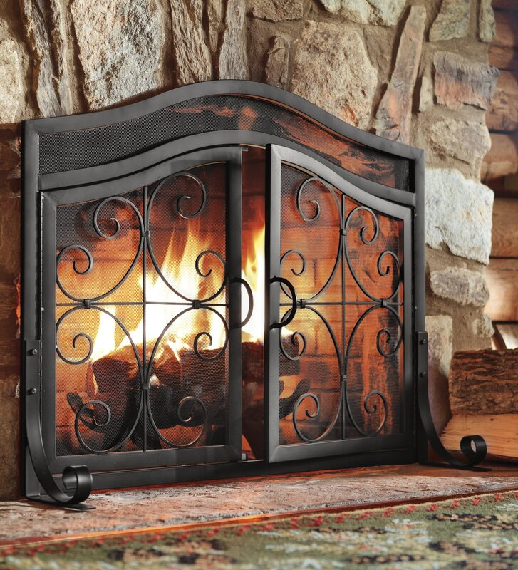 Small Crest Iron Fireplace Screen With Doors
