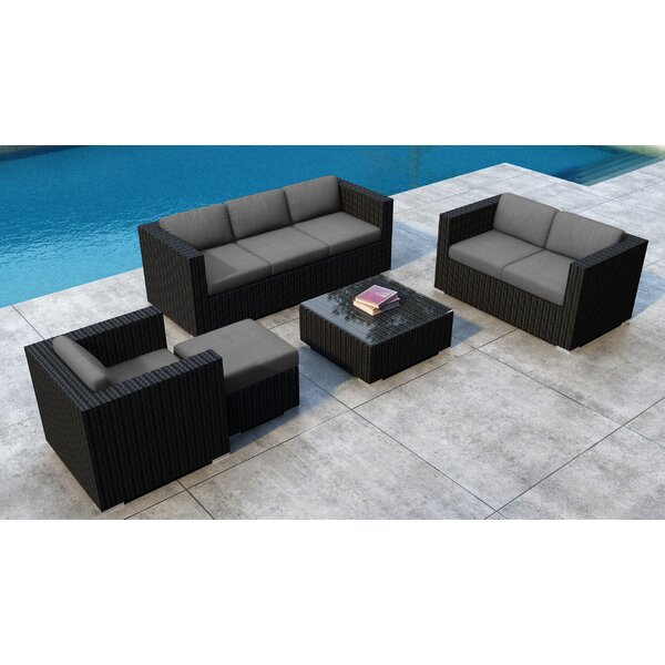 Glendale 5 Piece Rattan Sunbrella Sofa Seating Group with Cushions by Everly Quinn