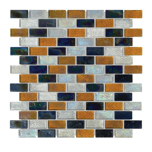 Glass Mosaic Tile in Black/Orange/Blue by QDI Surfaces