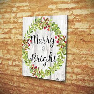 'Merry and Bright Wreath' Textual Art on Wrapped Canvas