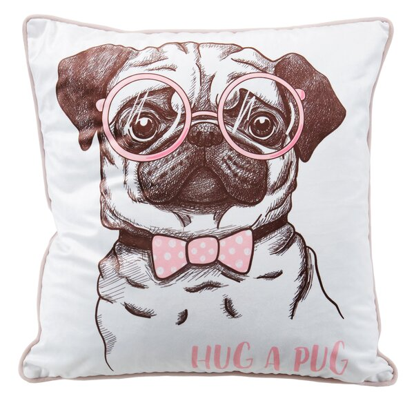 Hug Pug Throw Pillow by Nicole Miller