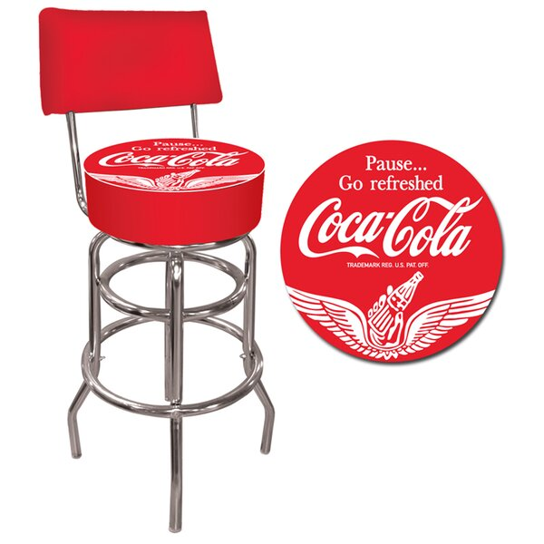 Coca Cola 31 Swivel Bar Stool by Trademark Global