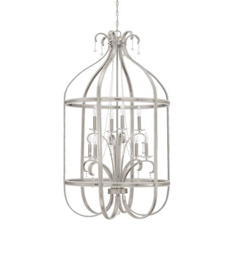 8 - Light Unique / Statement Geometric Chandelier With Wrought Iron Accents By Rainbow Lighting