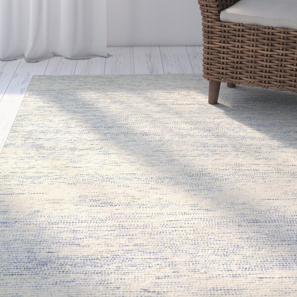 Dunbarton Pin Dot Hand-Hooked Wool Blue Area Rug by Rosecliff Heights