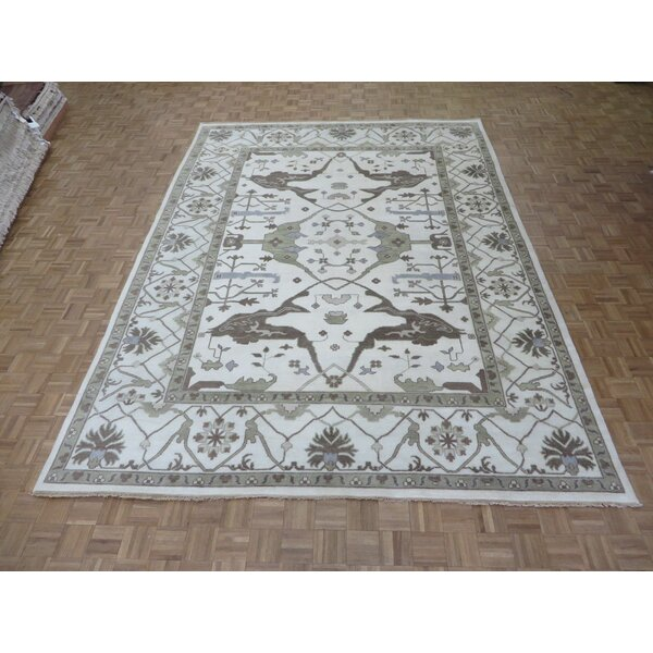 One-of-a-Kind Pellegrino Oushak Hand-Knotted Ivory Area Rug by Bloomsbury Market