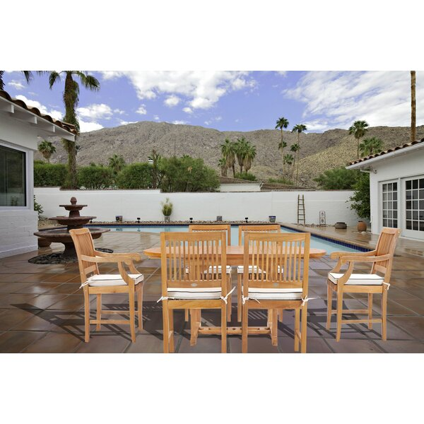 Dayne 7 Teak Dining Set with Sunbrella Cushions by Bay Isle Home