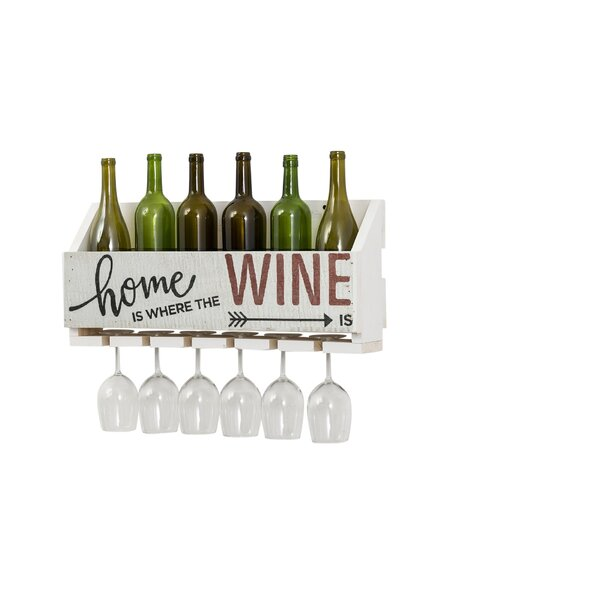 Mccandless Home is Where 4 Bottle Wall Mounted Wine Bottle and Glass Rack by Gracie Oaks Gracie Oaks
