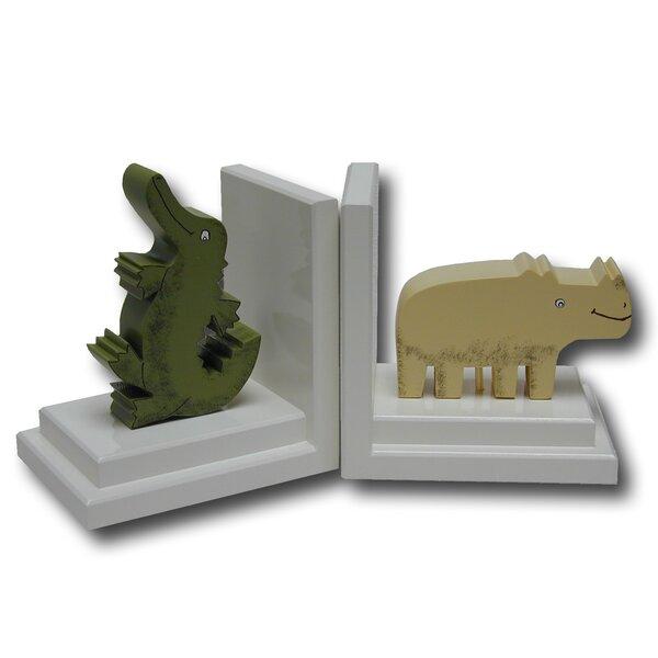 Crocodile / Rhino Book Ends (Set of 2) by One World
