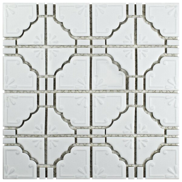Moonlight 12 x 12 Porcelain Mosaic Tile in Matte White by EliteTile