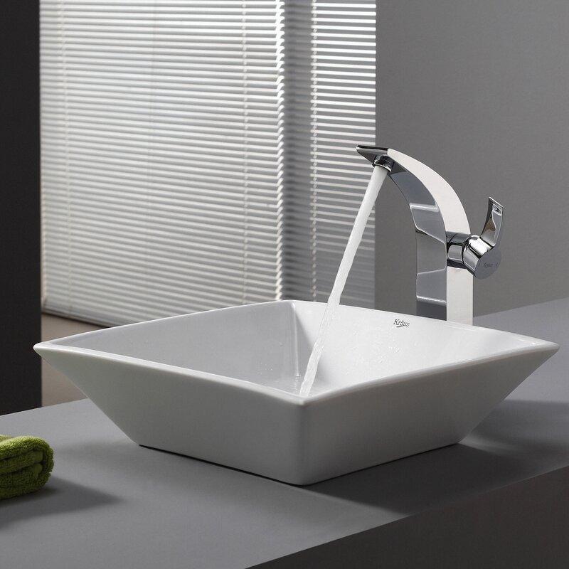 Bathroom Sinks Square kraus ceramic square vessel bathroom sink & reviews | wayfair
