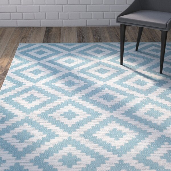 Harlow Hand-Woven Light Blue/Ivory Area Rug by Wrought Studio