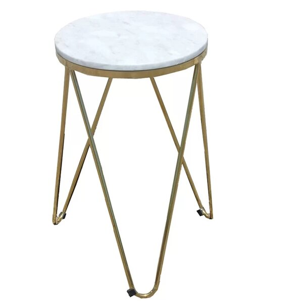 Keane Faux Marble End Table by Everly Quinn