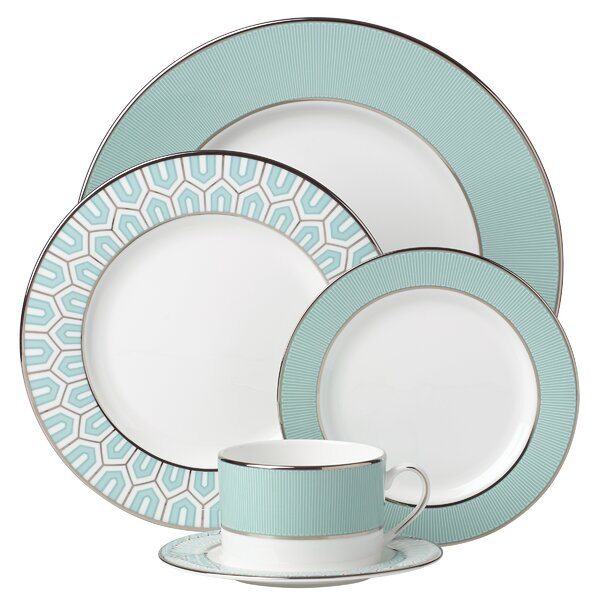 Brian Gluckstein Clara Aqua Bone China 5 Piece Place Setting, Service for 1 by Lenox