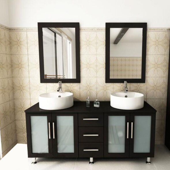 60 Double Bathroom Vanity Set with Mirror by Kokols