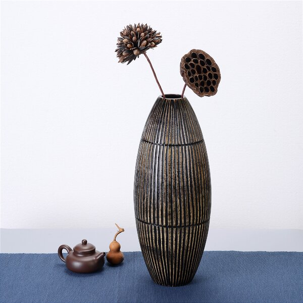 Ato Tall Oval Mango Wood Table Vase by World Menagerie