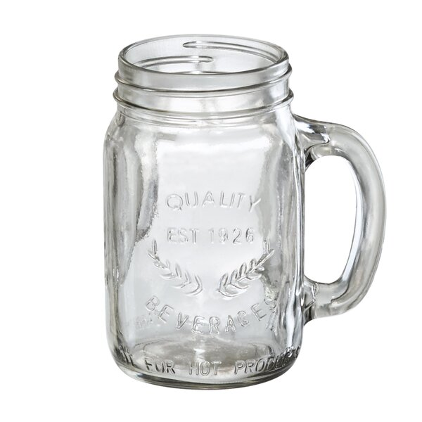 Gustave 16 oz. Mason Jar with Handle (Set of 4) by Laurel Foundry Modern Farmhouse