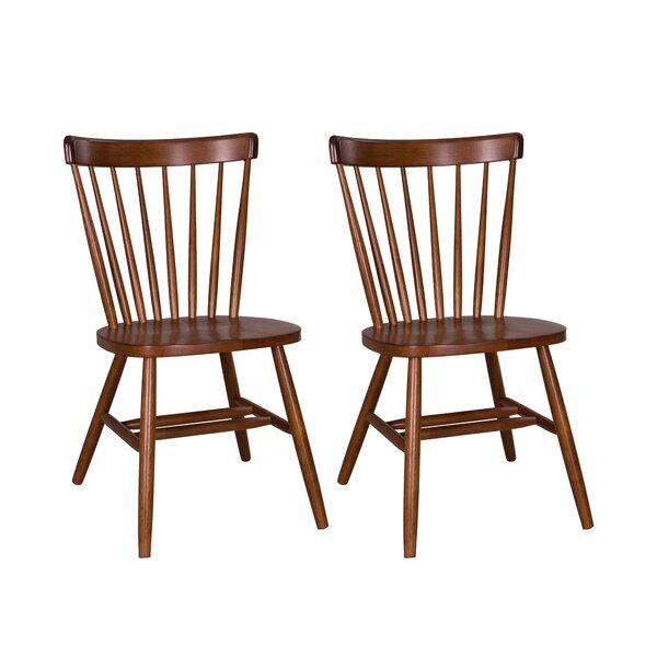 Marni Solid Wood Windsor Back Side Chair In Medium Brown (Set Of 2) By August Grove
