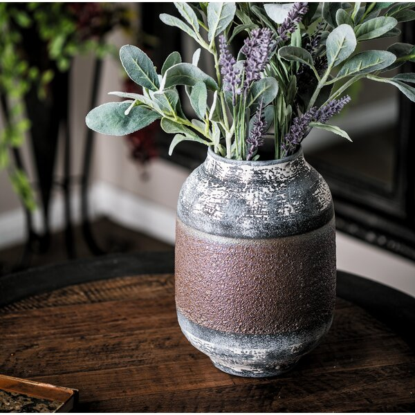 Haydel Eclectic Distressed Stoneware Table Vase by World Menagerie