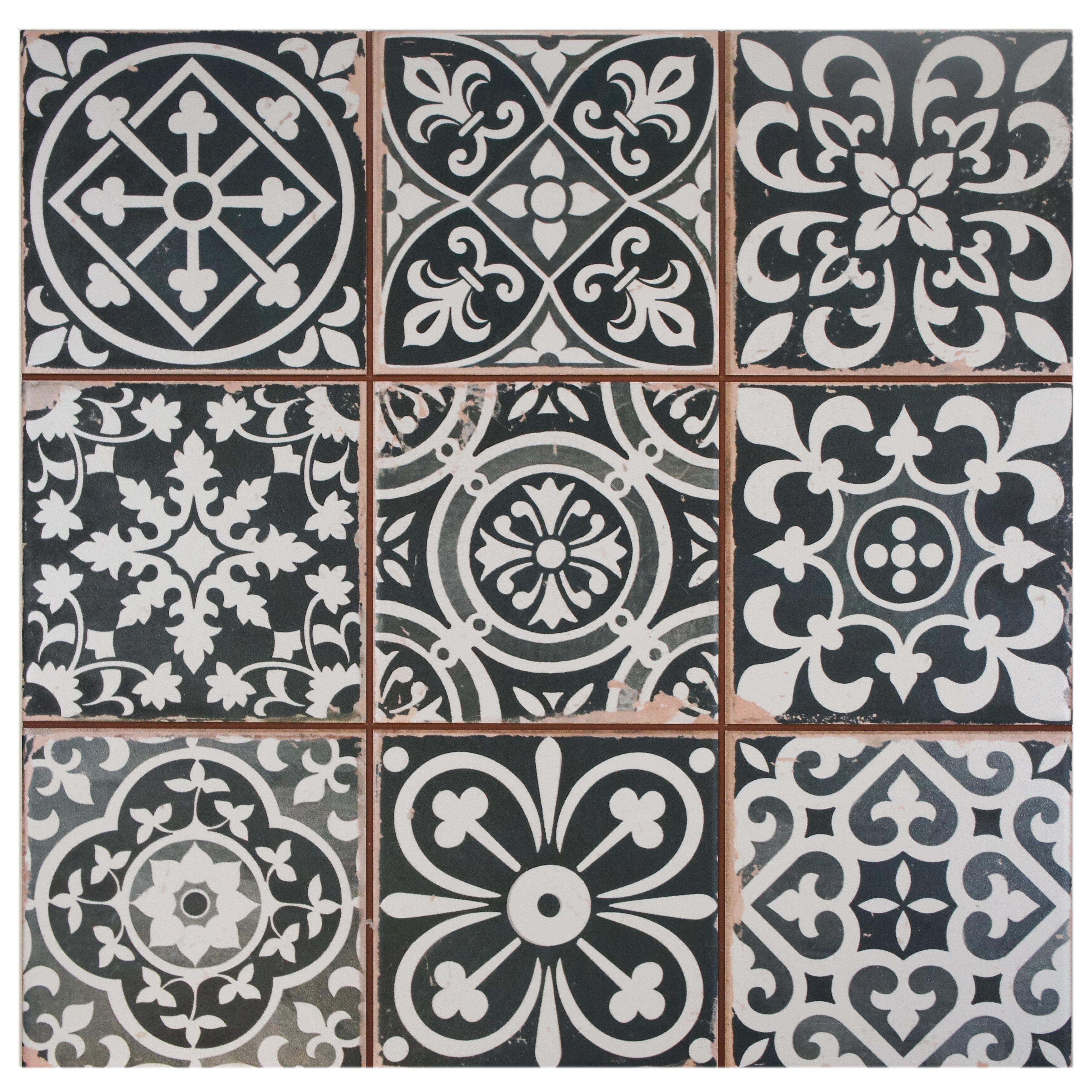 Elitetile Faventie Nero 13 X 13 Ceramic Field Tile In Blackwhite