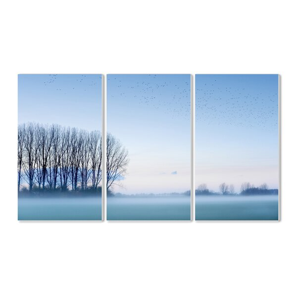 Foggy Woods Landscape Triptych 3 Piece Photographic Print Wall Plaque Set by Stupell Industries