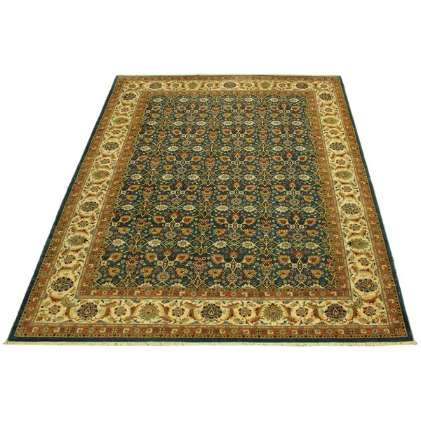 One-of-a-Kind Abagail Hand-Knotted Heritage Green/Ivory 9'2 x 11'7 Wool Area Rug