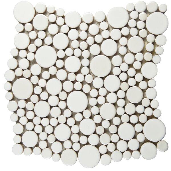 Posh Bubble Random Sized Porcelain Pebble Tile in White by EliteTile