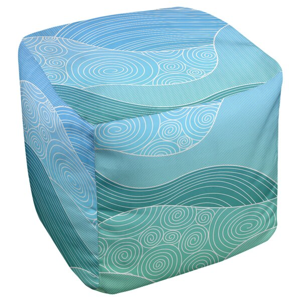 Avicia Hand Drawn Waves Cube Ottoman By Latitude Run