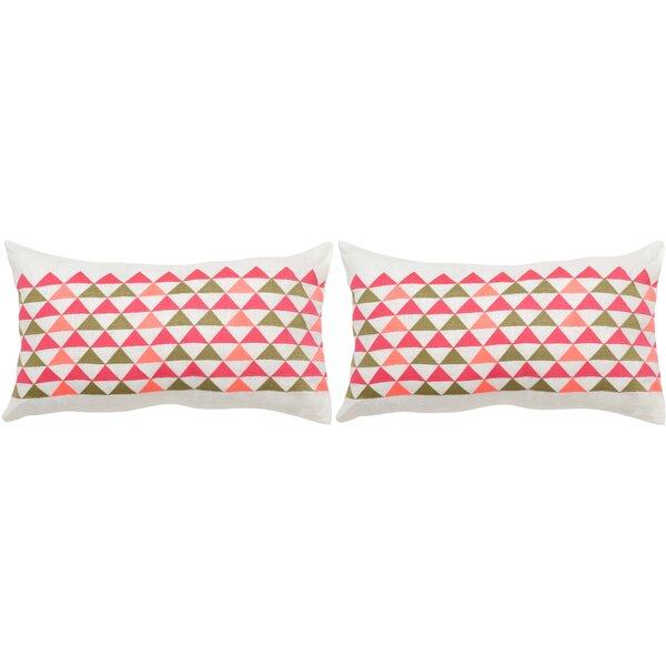 Geo Mountain Linen Lumbar Pillow (Set of 2) by Safavieh
