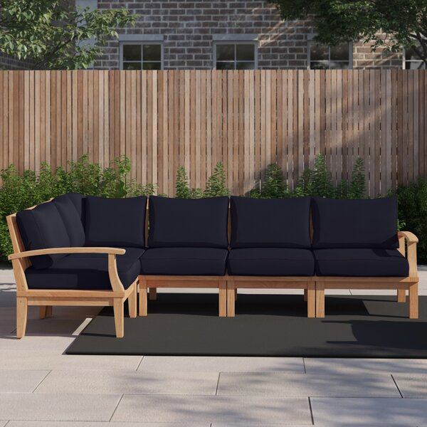 Anthony Outdoor Patio 6 Piece Teak Sectional Seating Group with Cushion by Foundstone