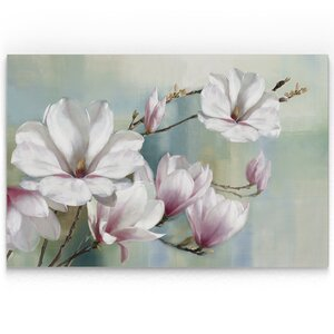 'Magnolia Blooms' Oil Painting Print on Wrapped Canvas by House of Hampton