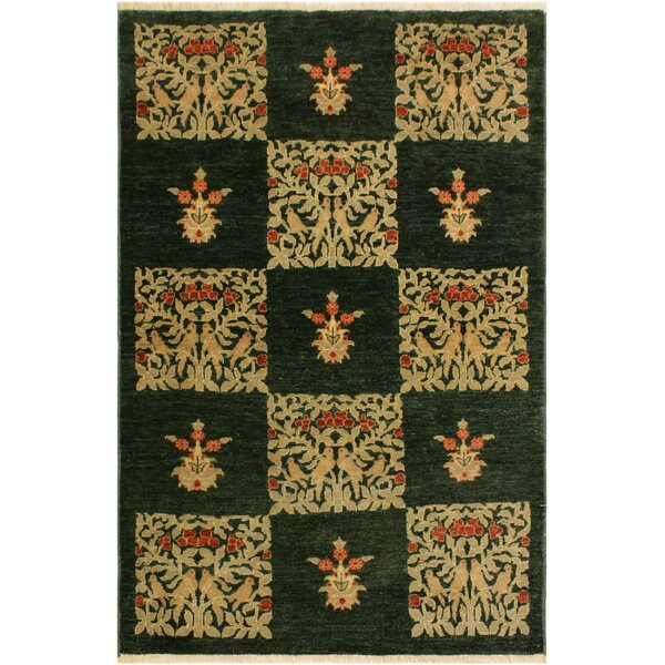 One-of-a-Kind Seraphina Hand Knotted Wool Green/Tan Area Rug by Winston Porter