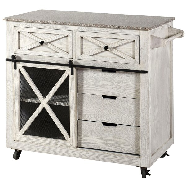 Fazio Farmhouse Kitchen Island with Granite Top by Gracie Oaks
