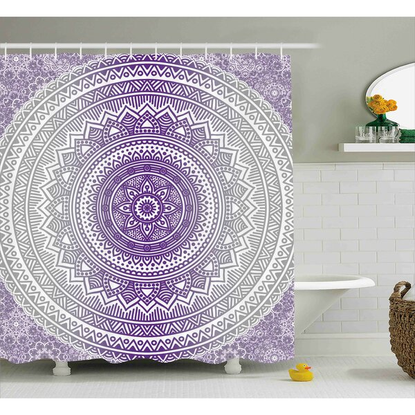 Genevieve Grey and Purple Eastern Traditional of Cosmos Pattern Zen Boho Ombre Mandala Design Print Shower Curtain by Bungalow Rose