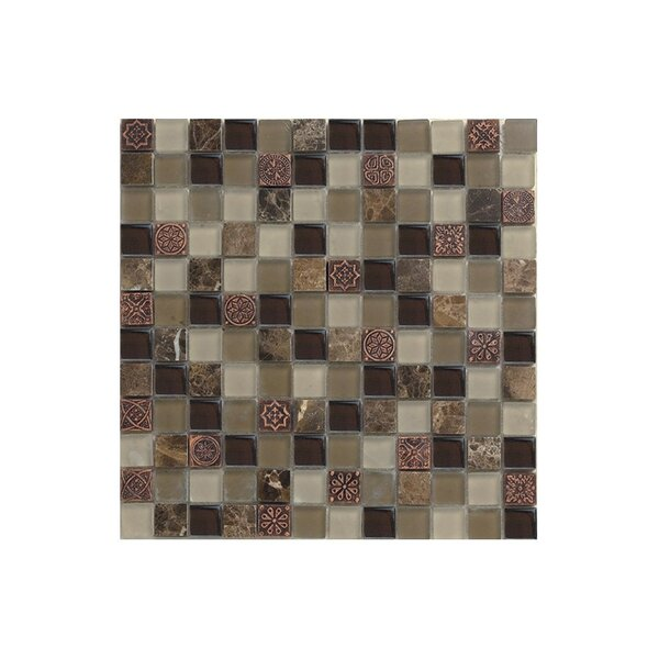 Port King 12 x 12 Glass Mosaic Tile Black/Brown by Kellani