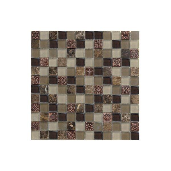 Port King 12 x 12 Glass Mosaic Tile Black/Brown by Kellani
