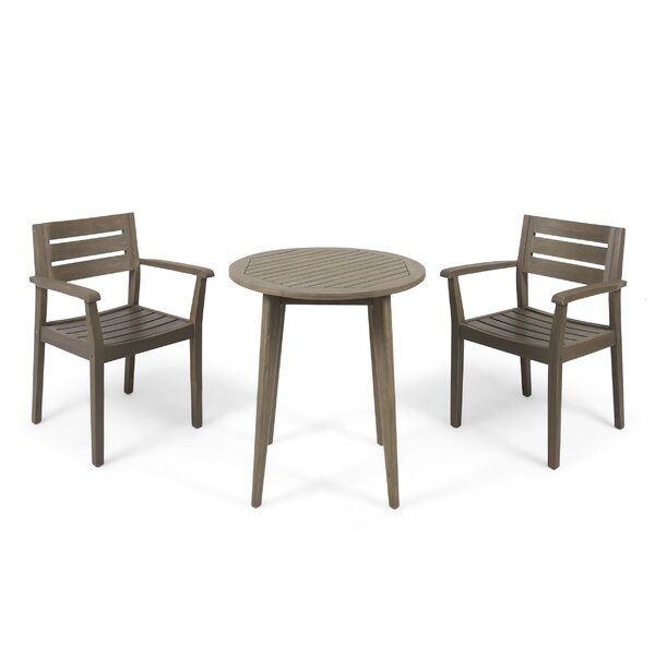 Sir Outdoor Acacia Wood 3 Piece Bistro Set by Gracie Oaks