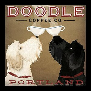 Two Dogs with Coffee' Framed Graphic Art by Winston Porter
