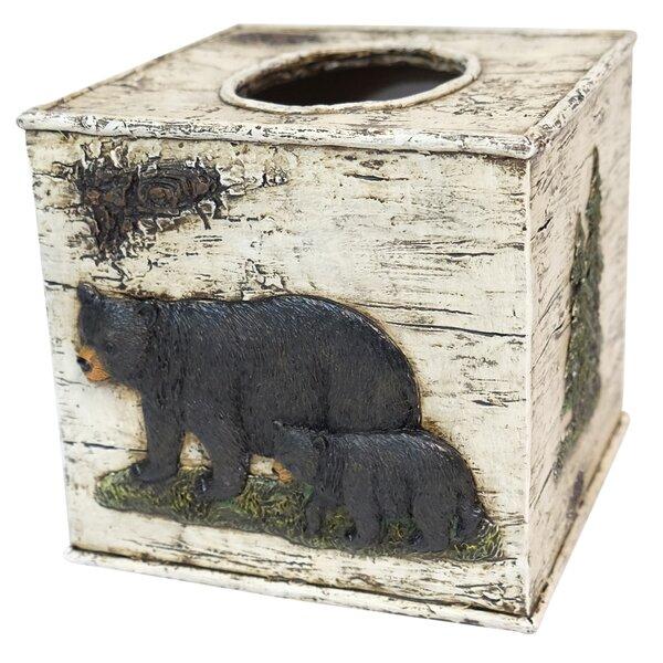Schroeder Bear on Birch Tissue Box Cover by Loon Peak