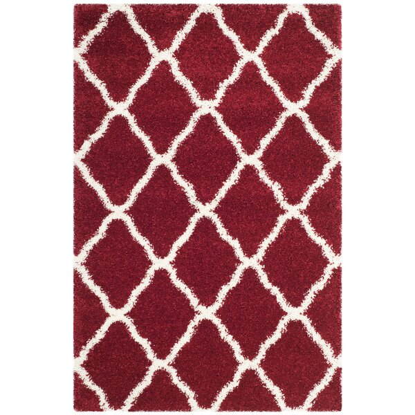 Melvin Shag Red/White Area Rug by Charlton Home