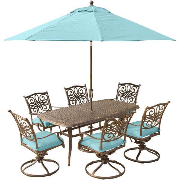 Lauritsen 7 Piece Dining Set with Cushions and Umbrella Stand by Three Posts