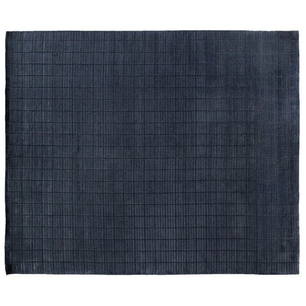 Tiny Bars Mini Hand-Woven Navy Area Rug by Exquisite Rugs