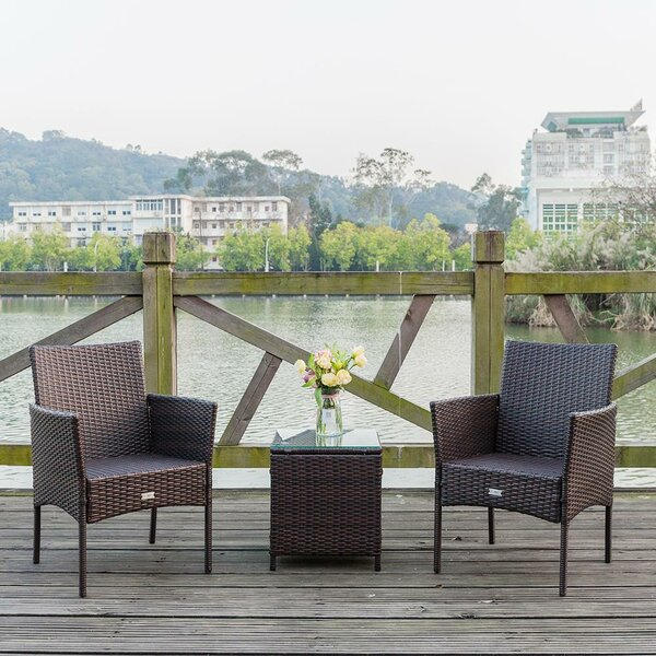 Ravsten 3 Piece Rattan Seating Group with Cushions