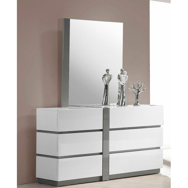 Kajal 6 Drawer Double Dresser with Mirror by Orren Ellis