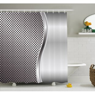 Online Reviews Metal Background with Square Shaped Grid Speaker Featured Industrial Iron Design Shower Curtain Set ByAmbesonne