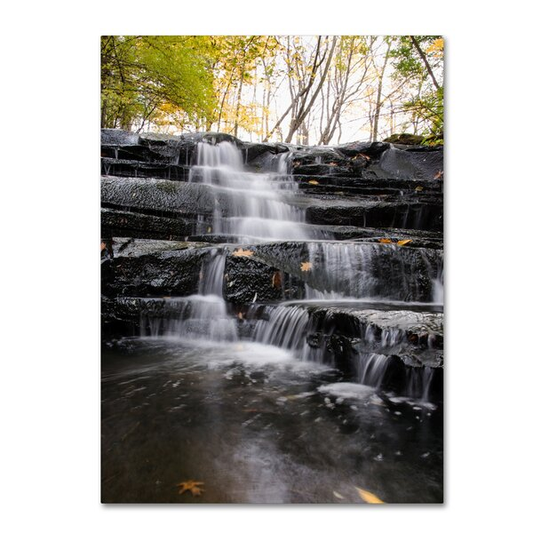 Waterfall at Lake View by Kurt Shaffer Photographic Print on Wrapped Canvas by Trademark Fine Art