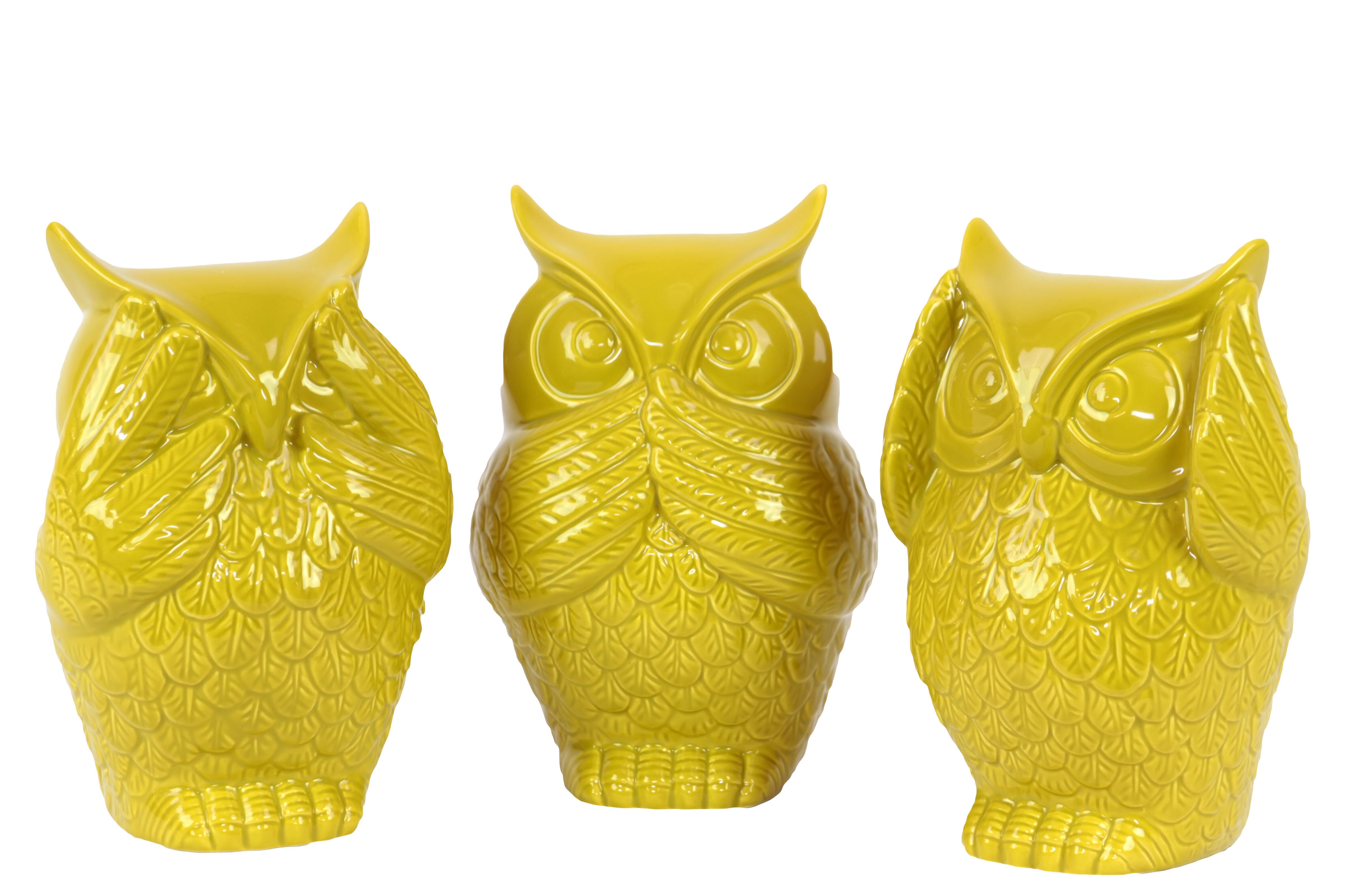 August Grove Locascio Ceramic Owl No Evil 3 Piece Figurine Set ...